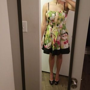 bebe Floral Green & Pink Dress with Pockets